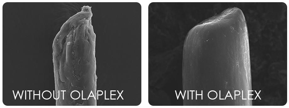 Hår med eller utan Olaplex behandling